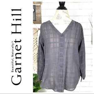 NWT Garnet hill button front grey blouse